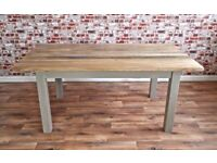 Chunky Slab-Style Rustic Dining Table Six-Seater Oak Hardwood Table