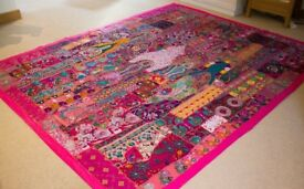 LARGE HANDMADE INDIAN TAPESTRY (97x78inch)