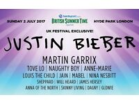 2 tickets for British Summer Time, Sunday July 2nd JUSTIN BIEBER Plus Martin Garrix, and more!
