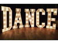 Party Hire - Light up DANCE letters for birthdays, weddings and other celebratory events!
