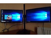 "2 x ASUS 22"" Full HD LED Monitors,DVi,VGA,1080p,With Stand For Extended/Dual Displays,CCTV,Gaming"