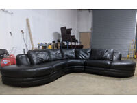 Large 7 seater DFS black leather corner sofa DELIVERY AVAILABLE