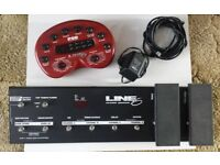 POD Line 6 multi effects Pedal & pedal board for a Guitar
