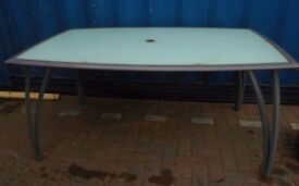 "Large, 63"" Wide, Metal & Glass Patio Table. Parasol Hole. Seats 6"