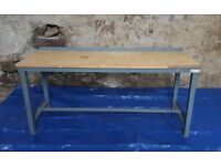 Heavy Duty Metal Frame Wood Top Work Bench Workbench Workshop Table Desk Large