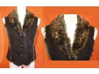 """Marks & Spencer """"Per Una"""" Dark Brown Faux-Fur Waistcoat - Can Post for Paypal payment"""