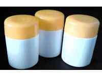 3 Empty New White Refillable Pills Tablets Holders Medicine Tubs with Yellow Caps.