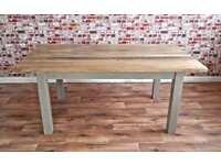 Chunky Slab-Style Rustic Dining Table Six-Seater Oak Hardwood Table