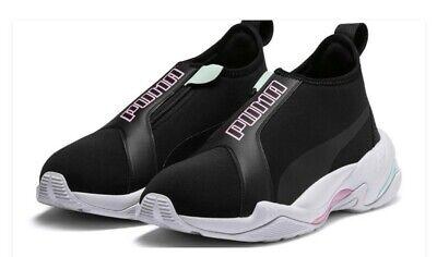 $120 Puma Thunder TZ Metallic Mid Cut Women Slip On Sneakers Shoes Black US 9.5 Mid Cut Slip