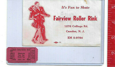 vintage lot roller rink decal Fairview Camden New Jersey & ticket