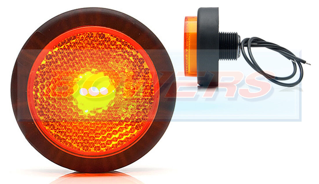 WAS W79 RR 12V 24V ROUND RED REAR PUSH IN LED MARKER LAMP LIGHT REFLECTOR