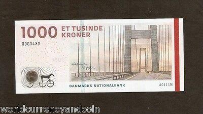 DENMARK 1000 KRONER P69 2011 HORSE CARRIAGE BRIDGE UNC DANISH MONEY BILL NOTE