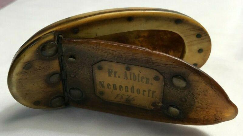"Antique Horn Snuff Box dated 1876 w/ Inlaid Inscription ""Fr. Albien Nenendorff"""