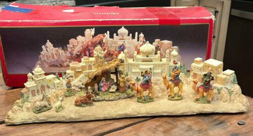 Dillards Trimmings Nativity Set ONE Piece Lighted  Village TA396X64 VTG w/ Box