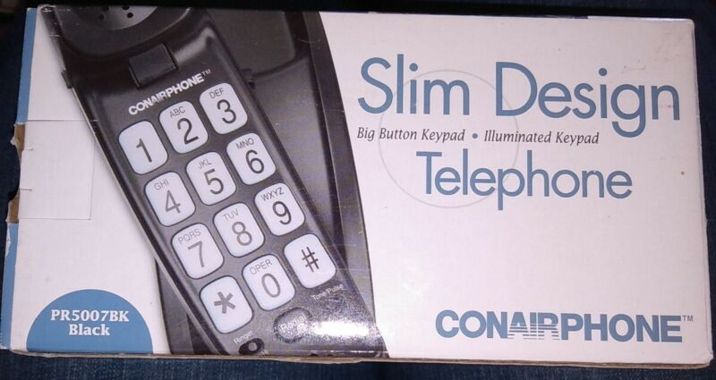 Conair Phone PR5007BK black Slim Design Big Illuminated Button Keypad Telephone