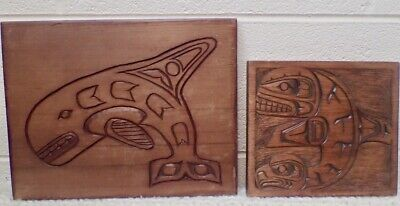 Northwest Coast First Nation Ditidaht Carved Wood Plaques Orka & Eagle/Orka Duo  for sale  Stockbridge