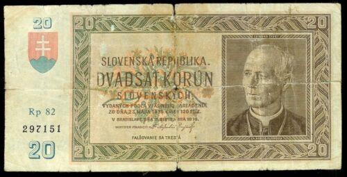 Slovakia 20 Korun 1939 VG-G P5 NOT Perforated Scarce Rare Banknote