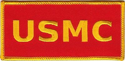 "2"" x 4 1/4"" USMC US MARINE CORPS MARINES Gold on Red Iron on Sew on Patch"