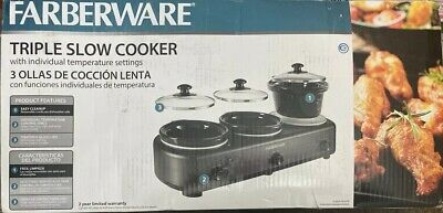 NEW Farberware Triple 1.5qt Slow Cooker Nonstick Pots Lids Large Buffet Catering