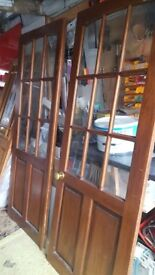 Pair of interior glazed doors