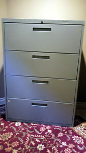 2 (4 Drawer) filing cabinets, Grey & Ivory, $100 each