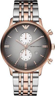 EMPORIO ARMANI AR1721 Retro Rose Gold Two Tone Men's Chronograph Watch NEW AUTH! (Emporio Armani Ar1721)