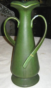 ANTIQUE-HUGE-15-HAMPSHIRE-ART-POTTERY-MATT-GREEN-ARTS-CRAFTS-FLOWER-URN-VASE