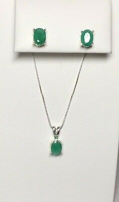 Brand New Sterling Silver Genuine Emerald Necklace & Earrings Set
