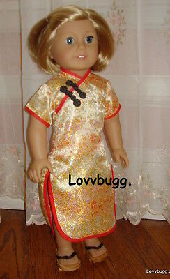 "Lovvbugg Gold Chinese Asian Dress for 18"" American Girl Doll Clothes"
