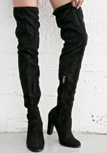 Black Suede Over The Knee Boots (Size 7.5)