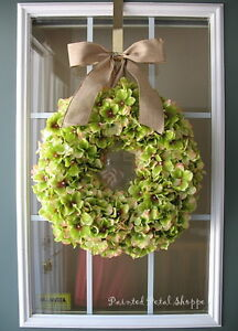Lime Green Hydrangea Wreath/Spring Wreath/Summer Wreath/Rustic