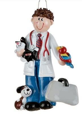 Veterinarian Man with Dog Cat and Bird Vet Christmas Ornament Tree Decoration