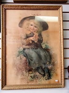 Sweet Antique Print - Girl with Robin Egg - Beautiful Frame London Ontario image 1