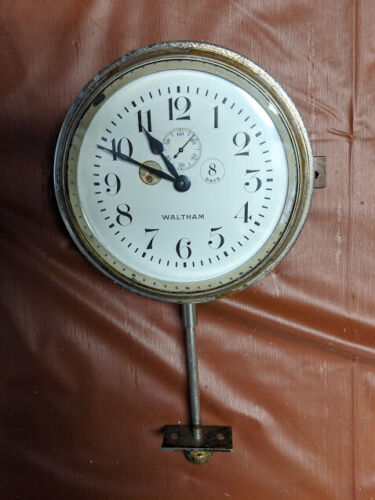 Waltham 8 Day Antique Automobile Car Clock K-4 With Mounting Brackets