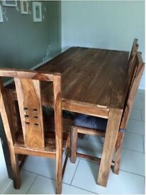 Solid sheesham dining table with 6 chairs