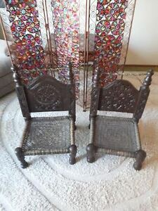 SET OF 2 ANTIQUE SOLID OAK LOW CHAIRS HAND-CARVED IN PAKISTAN