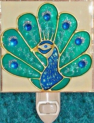 Artisan Painted Peacock Night Light Art Stained Glass Wall Plug In Home Decor