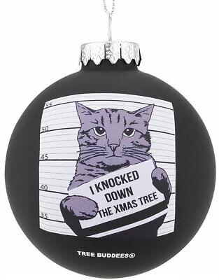 Tree Buddees Hilarious Cat Mugshot Knocked Down The Xmas Tree Funny Ornaments ()