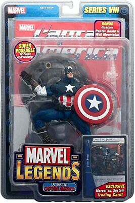 Marvel Legends Series 8 Captain America Action Figure with Comic Book