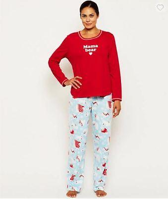 """KN Karen Neuburger Women's """"Mama Bear"""" Pajama Set PJ's XS Fleece Pants Pajamas"""