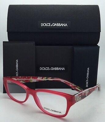 Neu Dolce & Gabbana Brille Dg 3204 2850 Pink & Rot Rahmen mit Blumenmuster