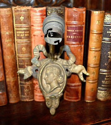 Antique French Bronze Wall Sconce Light Fixture Figural Female