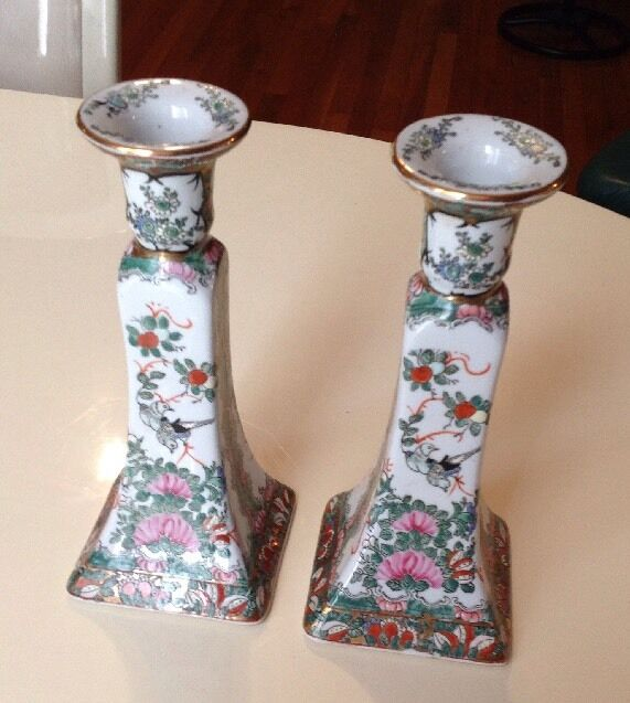 Vintage Chinese Porcelain Candlestick Holders Set Of 2 Hand Painted.