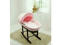 Kinder valley pink Dimple with Dark Wicker moses basket. Brand new in sealed packs.