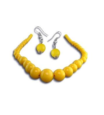 Graduated Yellow or Red Bead Necklace Dangling Fashion Set](Red Bead Necklaces)