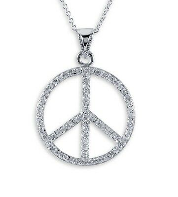 925 Sterling Silver Peace Sign Round CZ Charm Necklace