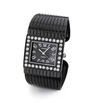 Ladies White CZ Gun Metal Groove Bangle Watch Bracelet-d4044gun ()