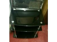 Black glass shelves hifi table in excellent condition