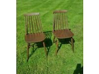 Pair of ercol chairs dark elm great stick back designer classic in lovely condition