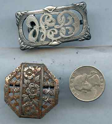 Vintage Lot of 2 Silver Tone Belt Buckle Flower PC9 Sterling ?
